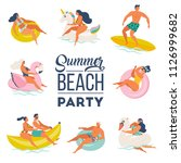 pool party doodle set. happy... | Shutterstock .eps vector #1126999682