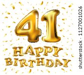 raster copy happy birthday 41th ... | Shutterstock . vector #1127001026