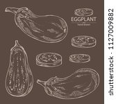 collection of eggplant  full... | Shutterstock .eps vector #1127009882
