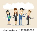 business people using phone... | Shutterstock .eps vector #1127013635