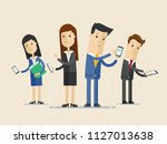 business people group using... | Shutterstock .eps vector #1127013638
