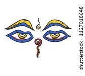 buddha wisdom eyes icon flat... | Shutterstock .eps vector #1127018648
