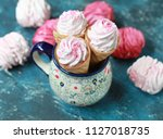 homemade pink marshmallow with... | Shutterstock . vector #1127018735