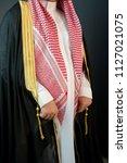 saudi arabian man wears luxury... | Shutterstock . vector #1127021075