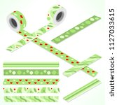 set of five washi tapes  green...   Shutterstock .eps vector #1127033615