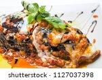Stock photo close up of tasty vegetarian egg plant lasagna 1127037398