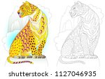 Colorful and black and white pattern for coloring. Illustration of fairyland leopard. Worksheet for children and adults. Vector image.