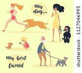 my dog my best friend text.... | Shutterstock .eps vector #1127046995