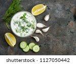 tzatziki sauce with ingredients ...   Shutterstock . vector #1127050442