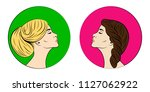 two female profiles in multi... | Shutterstock .eps vector #1127062922