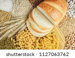 foods high in carbohydrate on... | Shutterstock . vector #1127063762