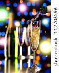bottle  champagne  stream and ... | Shutterstock . vector #112706596