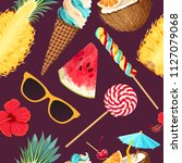tropic summer pattern | Shutterstock .eps vector #1127079068