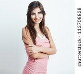 young happy woman  standing... | Shutterstock . vector #112708828