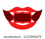 open mouth of vampire with red... | Shutterstock .eps vector #1127093675