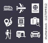 set of 9 travel filled icons... | Shutterstock .eps vector #1127099312