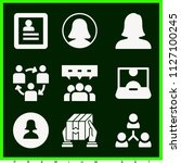 set of 9 user filled icons such ... | Shutterstock .eps vector #1127100245
