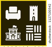 set of 4 buildings filled icons ... | Shutterstock .eps vector #1127100542