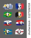 set of realistic soccer ball on ...   Shutterstock .eps vector #1127106518