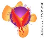 phoenix bird vibrant flame.... | Shutterstock .eps vector #1127117258
