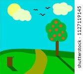 simple geometric landscape ... | Shutterstock .eps vector #1127119145