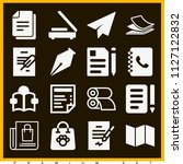 set of 16 paper filled icons...   Shutterstock .eps vector #1127122832