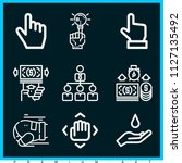 set of 9 hand outline icons... | Shutterstock .eps vector #1127135492
