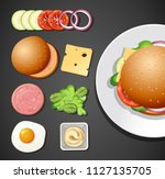 a set of burger element... | Shutterstock .eps vector #1127135705