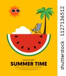 summer time and happy holiday... | Shutterstock .eps vector #1127136512