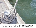 rope mooring line for a boat  | Shutterstock . vector #1127140838
