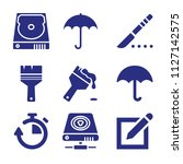set of 9 tool filled icons such ... | Shutterstock .eps vector #1127142575