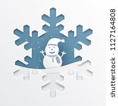 paper cut out snowflakes on... | Shutterstock .eps vector #1127164808