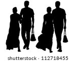 drawing couple people on street | Shutterstock . vector #112718455