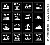 set of 16 icons such as flowers ...