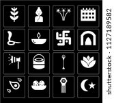 set of 16 icons such as muslim  ...