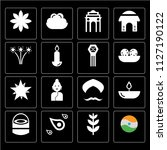 set of 16 icons such as india ...