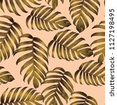 palm monstera seamless pattern. ... | Shutterstock .eps vector #1127198495