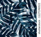 palm monstera seamless pattern. ... | Shutterstock .eps vector #1127198522
