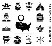 set of 13 simple editable icons ... | Shutterstock .eps vector #1127203658