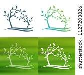 abstract tree concept logo.   Shutterstock .eps vector #1127203826