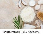 body scrub of coconut oil ...   Shutterstock . vector #1127205398
