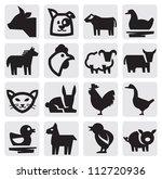vector black farm animals icon... | Shutterstock .eps vector #112720936