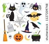 halloween vector elements icons ... | Shutterstock .eps vector #1127209748
