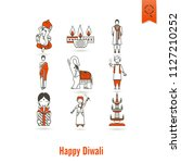 diwali. indian festival icons.... | Shutterstock .eps vector #1127210252
