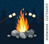 bonfire with marshmallow  stone ... | Shutterstock .eps vector #1127216315