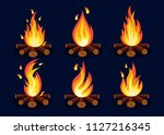 set ot bonfire with firewood... | Shutterstock .eps vector #1127216345