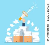 busy businessman with pile of... | Shutterstock .eps vector #1127216426