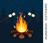 bonfire with marshmallow ... | Shutterstock .eps vector #1127216492