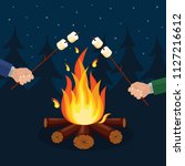 bonfire with marshmallow ... | Shutterstock .eps vector #1127216612
