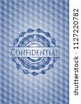 confidential blue badge with... | Shutterstock .eps vector #1127220782